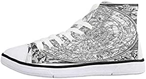 Compass Decor Comfortable High Top Canvas ShoesWind Rose Old Fashion Navigational Equipments Orienteering Illustration Print for Women Girls,US 5
