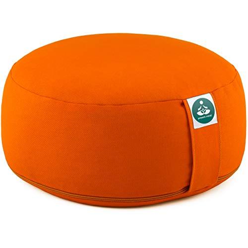 Present Mind Cojines Redondos de Yoga (16 cm) – Naranja – Zafu de Yoga – Cojín de Suelo Alto para Yoga y Meditación – Yoga Accesorios Hechos en la UE – Funda Lavable – 100% Natural