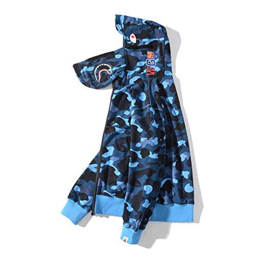 Bape Fashion Hip Hop Shark Camo Jersey Casual Sudadera con capucha con cremallera suelta con protección bucal, azul, L