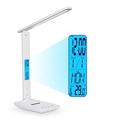 Lampe de Bureau LED, Lampe D'étude Rechargeable Fold, Réveil, Calendrier, Température, Lumières de Bureau D'horloge 3 Modes 5 Niveaux de luminosité Lampe de Table pour Étudiants à Contrôle Dimmable