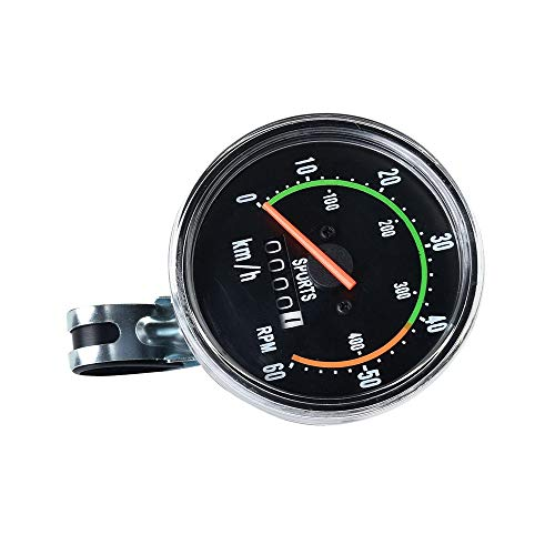 Fahrrad-Tachometer Fahrrad-Universal-mechanische Stoppuhr High-End-Stoppuhr Fahrradzubehör Runde Mechanische Stoppuhr Schwarz Fahrrad Stoppuhr (Color : Black, Size : One Size)