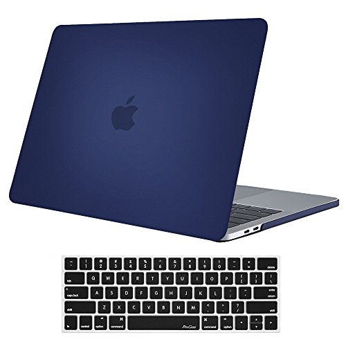 ProCase MacBook Pro 13 Case 2019 2018 2017 2016 Release A2159 A1989 A1706 A1708, Hard Case Shell Cover and Keyboard Skin Cover for MacBook Pro 13 Inch with/Without Touch Bar -Darkblue