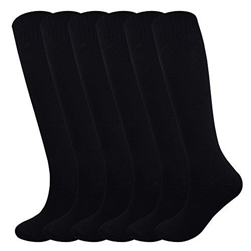 Fitliva Tube Dresses Classic Adult Athletic Traditional Knee length Socks(6Pack-Black)