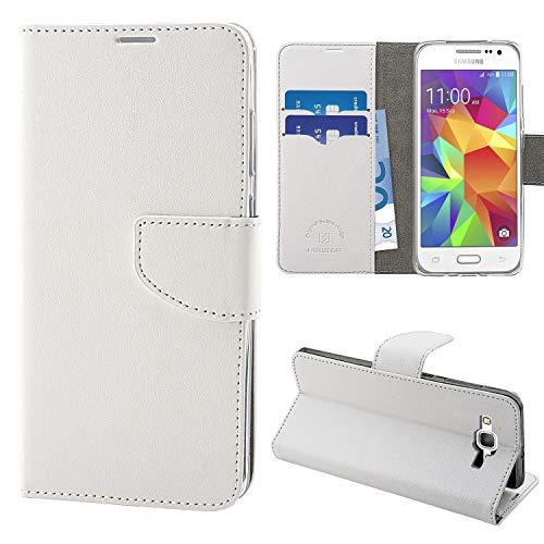N NEWTOP Cover Compatibile per Samsung Galaxy Core Prime G360, HQ Lateral Custodia Libro Flip Chiusura Magnetica Portafoglio Simil Pelle Stand (Bianco)