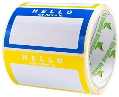 Nom Tag étiquettes Hello my name is Stickers Couleurs assorties (3 couleurs) l'école bureau Stickers, taille 90 x 50 mm, 1 rouleau/250 stickers