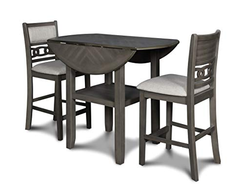 New Classic Furniture Gia Drop Leaf Counter Dining Table with Two Chairs, 42-Inch, Gray