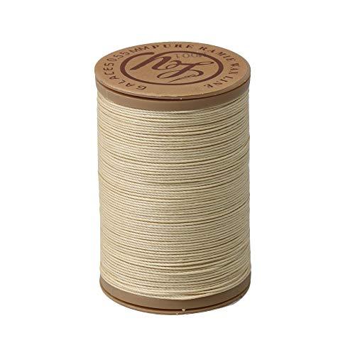Yibuy 100 Metros Trabajo Hecho a Mano Cuero Costura artesanía cáñamo cordón de Hilo Encerado Redondo 0.55mm Beige