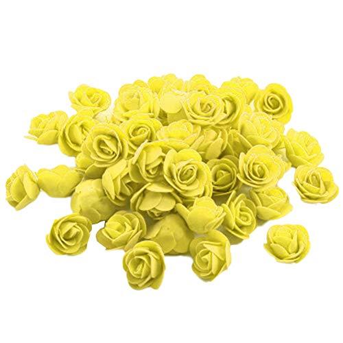 Vi.yo 50x Kunstblumen Rosen Unechte Blumen Foamrosen Schaumrosen Schaumköpfe Party Hause Dekor künstliche Rosen Rosenköpfe 3-3.5cm Gelb