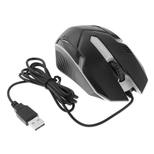 Gazechimp Ratones ópticos USB con Cable de 3 Botones, 1000 dpi, Compatibles con Computadoras de Escritorio Y Portátiles, Retroiluminación de 7 Colores - Estilo 3