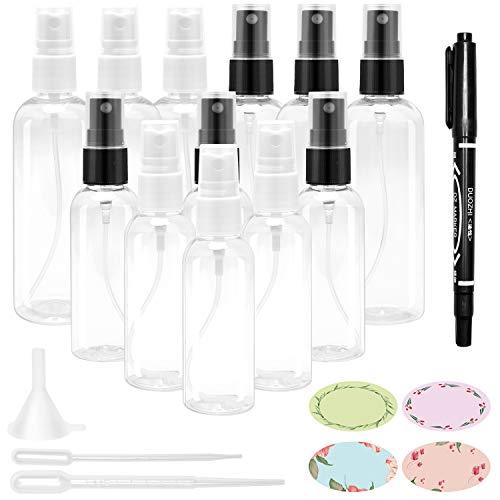 12 Stück Beauty Zerstäuber Set,Sprühflaschen Set Transparente zum Befüllen durchsichtig mini Parfumzerstäuber mit Trichtern und Klebeetiketten für Reisen Urlaube und unterwegs 6×50ml+6×100ml