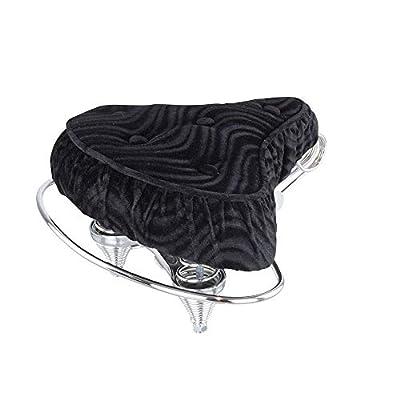 Fenix Cycles Beach Cruiser 5 Button Velour Web Spring Bike Saddle/Seat, (Black)