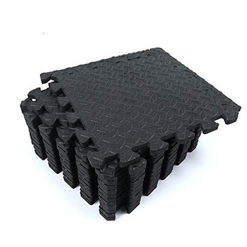 Miwaimao 12PCS 30 * 30cm Gimnasio de protección Deportiva Mat EVA Leaf Grain Floor mats Yoga Fitness alfombras Empalmadas Antideslizantes Espesan el Entrenamiento de la Sala de Choque Black