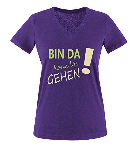 Comedy Shirts - Bin da kann los gehen! - Damen V-Neck T-Shirt - Lila/Hellgrün-Beige Gr. XL