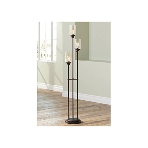 Libby Vintage Floor Lamp 3-Light Oiled Bronze Amber Seedy Glass Dimmable Antique LED Edison Bulb for Living Room Bedroom - Franklin Iron Works -  Lamps Plus, F12058 05-2731-68
