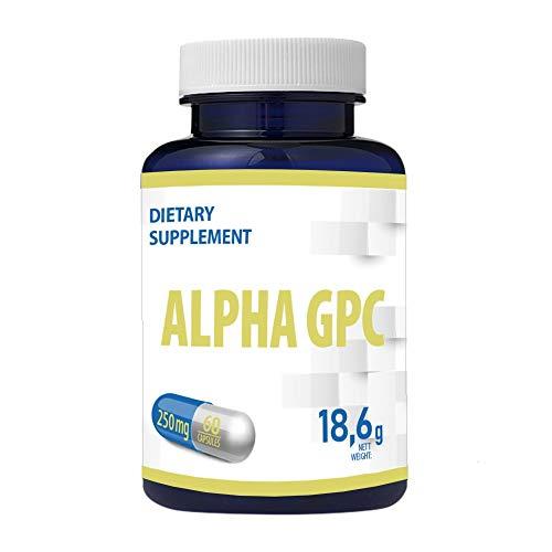 Alpha GPC 250mg 60 Vegan Kapseln Bioverfügbarer Cholin, Nootropic, Für Gedächtnis, Konzentration und Fokus, Wachstumshormon, Dopamin und Serotonin Bildung