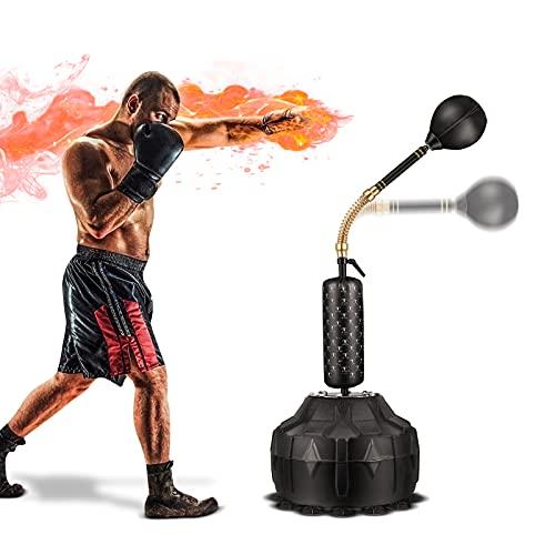 TELAM Fristående boxningssäck vuxen, multifunktionell 3-i-1 enkel installation och stresslindring, 12 sugkoppar stående kraftig boxningssäck justerbar höjd kan fyllas med vatten och sand