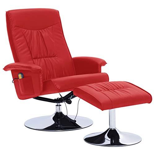 vidaXL Sillón de Masaje Reclinable y Reposapiés Cuero Sintético Descanso Muebles Interior Casa Hogar Diseño Estético Ergonómico Duradero Rojo