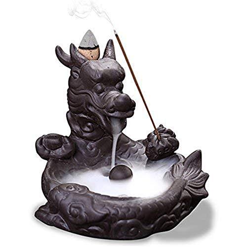 DIYARTS Dragon Backflow Incense Burner Aromatherapie Räucherkegel Räucherstäbchenhalter Mit Keramikkegeln Für Hauptdekoration Entspannungsgeschenke