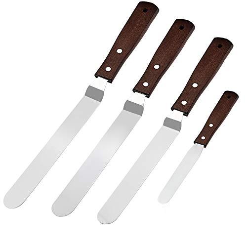 """WisFox Set Spatola Cucina-4 Pack Set Spatole Cuoco Dolci Spatola Cucina per Dolci Spatole Decorazione Torte, Spatole per Pasticceria in Acciaio Inox Crema con Manico Nero, 4""""-6"""" -8""""-10"""" Blade"""