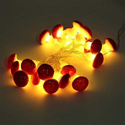 Pilz Garten Lichterkette,Gartenweg im Freien Dekorative Lampenleuchten, landschaftsleuchten,2M 20LED Pilz-Schnur-Licht mit Batterie-Garden-Party-Dekor batteriebetrieben Fliegenpilze Lampe warmweiß
