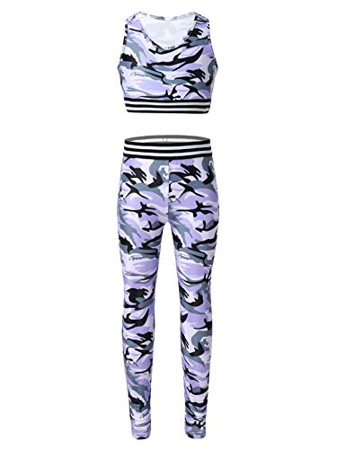 TiaoBug Kids Girls Crop Tops with Athletic Leggings Tracksuit Gymnastic Workout Active Set Two Piece Dance Outfit Lavender 7-8