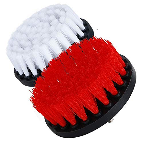 OxoxO - Cepillo de taladro mediano (2 unidades, 10,16 cm, suave y 5 pulgadas), cepillo de limpieza para ducha, baños, baldosas, lechada, alfombras, neumáticos, barcos, tapicería, etc.