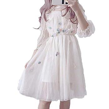 V-BestLee Japanese Lolita Dresses,Sweet Mid-Length Dresses A-Line Princess Mesh Dress Apricot