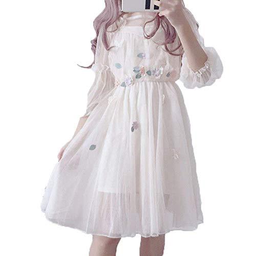 Lolita Kleid, Mesh Lolita Sweet Blumenrock, Sweet 2-teilige Sets A-Linie Blumen Prinzessin Partykleid (S-3XL)
