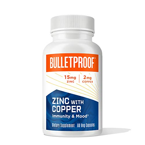Bulletproof Zinc with Copper Supplement, Essential Minerals and Antioxidants to Support Immunity, Mood, Heart, and Hormone Balance, 60 Supplement Capsules (Packaging May Vary)