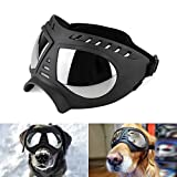 Namsan Dog Goggles - Large Breed Dog Sunglasses Windproof Snowproof Pet Goggles, Soft Frame, Elastic Adjustable Straps, Black