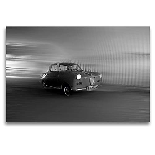 CALVENDO Premium Textil-Leinwand 120 x 80 cm Quer-Format Goggomobil Coupè 250 TS in schwarzweiss, Leinwanddruck von Ingo Laue
