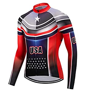 Men's Cycling Jersey USA Bicycle Shirts Long Sleeve Bike Jersey Full Zipper