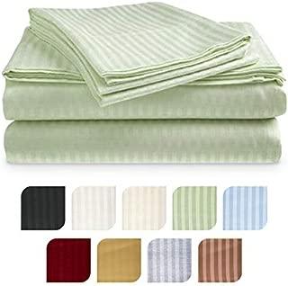 Crystal Trading 4-Piece Bed Sheet Set - Dobby Stripe - Microfiber - (Split King, Sage)