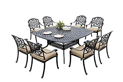 Darlee Elisabeth Cast Aluminum 9 Piece Patio Dining Set 64'' Square Table, Antique Bronze