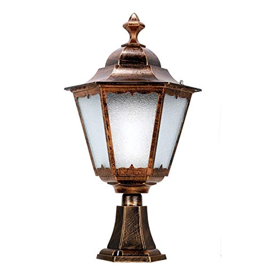 叙情的なオペラマネージャーポストランタンアルミ壁面ライトコラムヘッドライトバルコニーピラーライト中庭ドアライトヴィラガーデンライト (Color : Bronze, Size : 41*21*73cm)