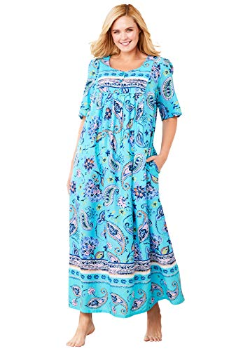 Only Necessities Women's Plus Size Mixed Print Long Lounger Nightgown - 2X, Caribbean Blue Paisley