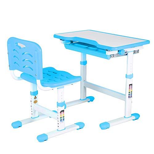 GOTOTO Kinderschreibtisch mit ergonomischem Stuhl für Kinder, Tisch und Stuhl mit Schublade für Kinder, höhenverstellbar, Rosa blau
