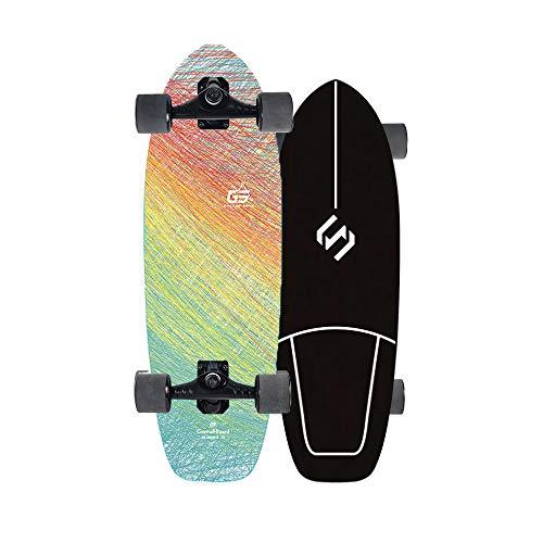 VOMI Skateboard Deck Carver Skateboards Land Surf Scooter CX4 Bridge, Cruiser Longboard Komplettes Board, Surfskate Skateboard Kinder, 7-Lagigem Ahornholz Standard-Skateboards Für Anfänger Erwachsene