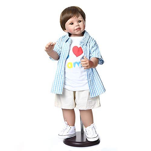 Reborn Toddler Boy 28 inch Big Reborn Baby Dolls Standing Look Real Full Body Hard Vinyl Handmade Waterproof Vinyl Toys for Kids Xmas Gifts