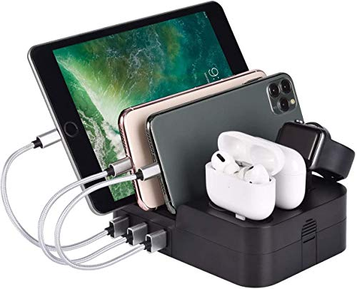 Charging Station for Multiple Devices 6 Port 30W MUZHI Fast Multi USB Charger Station Dock HUB Desktop Wall Charge Stand Organizer for iPad iPhone Airpods iwatch Kindle Tablet Smart Cell Phones Black