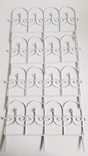 garden mile Set of 12 Decorative Garden Fencing 600mm x 330mm Victorian Scroll Style White Plastic Fence Grass Lawn Flower Bed and Patio Border Edging Stylish Decorative Garden Decoration