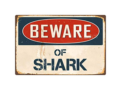 "Emivery Creative Iron Painting, Beware of Shark 8"" x 12"" Vintage Aluminum Retro Metal Sign Wall Painting Home Beach White Decoration Warning for Indoor and Outdoor"