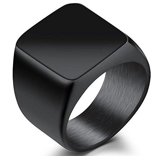 Anillo de sello de acero inoxidable clásico de cóctel, color negro y plateado; para marido, padre, San Valentín.