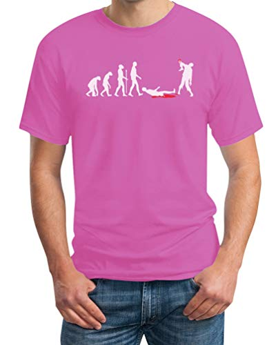 Zombie Evolution Funny Halloween Herren T-Shirt Small Rosa