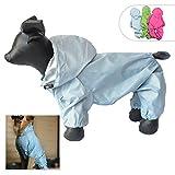 Chaqueta impermeable para perros, hecha de nailon, con espacio para 4 patas y capucha, para perros pequeños, medianos y grandes