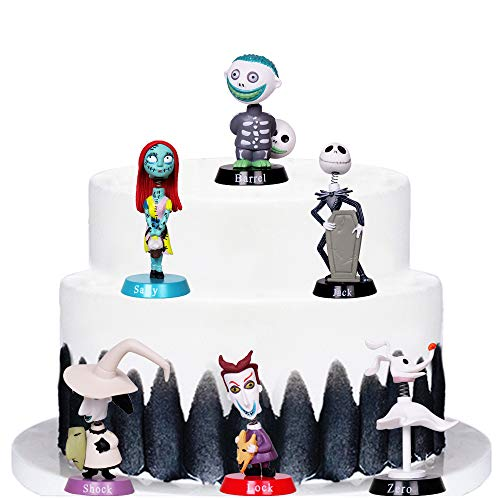 LVEUD 6pc The Nightmare Before Christmas Jack Happy Birthday Cake Topper, Children's Mini Toy Cake Topper, Dessert Table Decorations