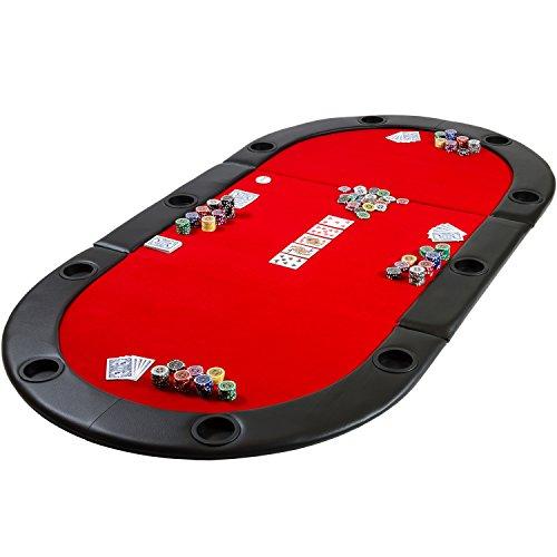 Maxstore Deluxe Faltbare Pokerauflage mit Tasche, 208x106x3 cm, MDF Platte, Gepolsterte Armauflage, 10 Getränkehalter - 3
