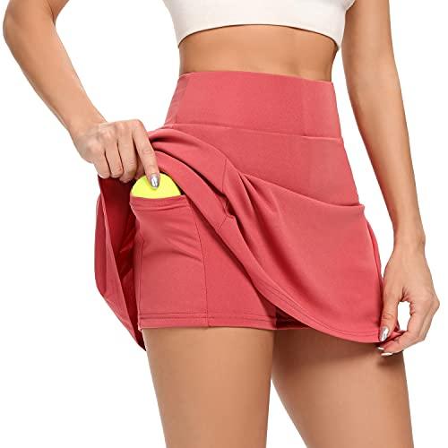 AINIC Damen Sportskort Tennisrock mit Innenhose & Tasche Minirock Faltenrock Kurz Skort Athletic Hosenrock Laufenrock (Rot, M, m)