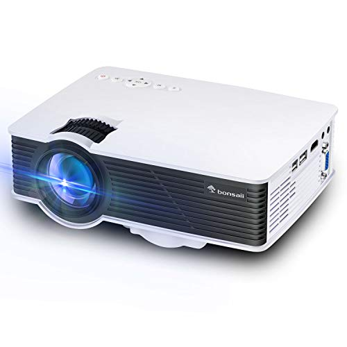 """Mini Projector, Full 1080P 200"""" Display Portable Outdoor Movie Projector, 50,000 Hrs LED Lamp Life Video Projector for Home Theater, Campatible with PS4, TV Stick, HDMI, VGA, an, USB,Laptop"""