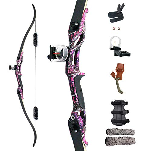 SinoArt 56' Recurve Bow with 30' Max Draw 30 35 40 45 50lb Draw Weight Right Hand Outdoor Hunting Bows&Arrows Archery Set (Purple) (35LB)